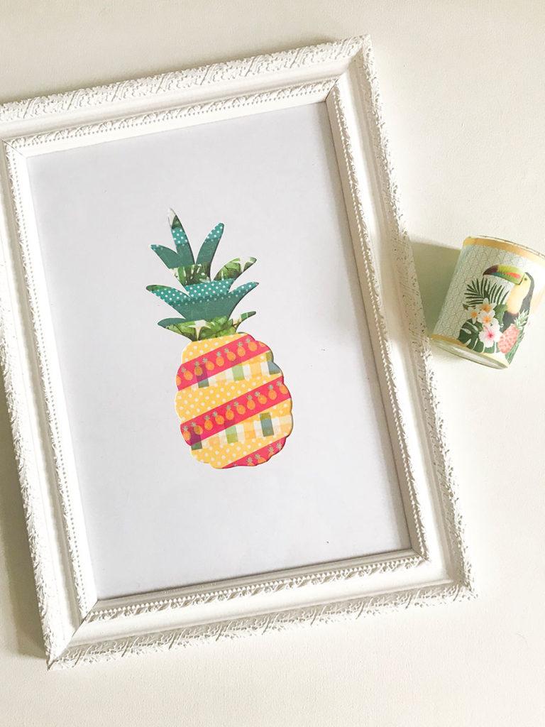 Ananas | Sommer DIY | DIY | Deko | Washi Tape | Freebie | Masking Tape | Bild selbermachen