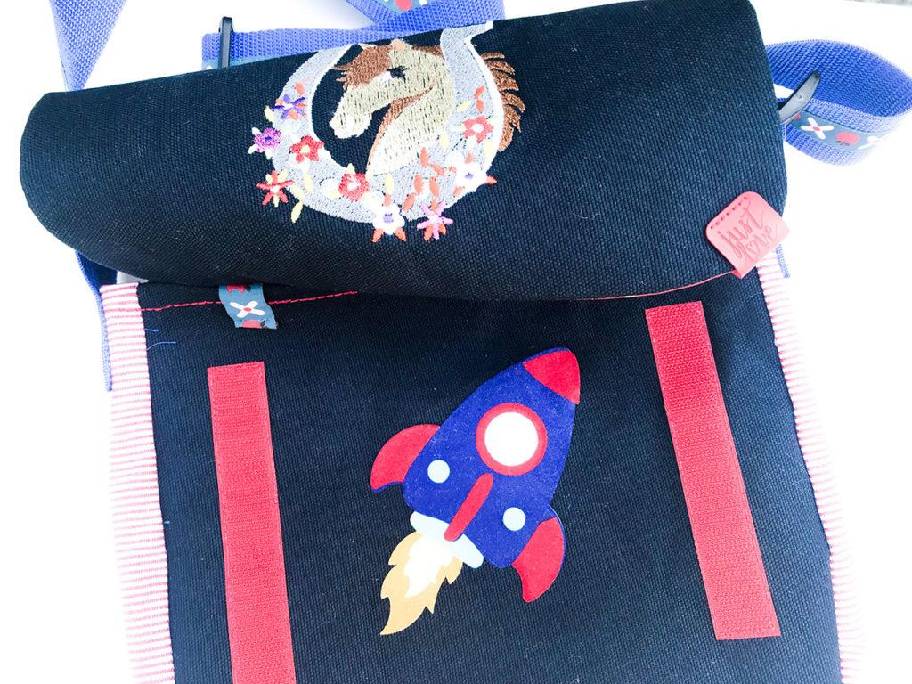 Kindergartentasche | Raketenaufdruck | geplottet | innere Fronttasche