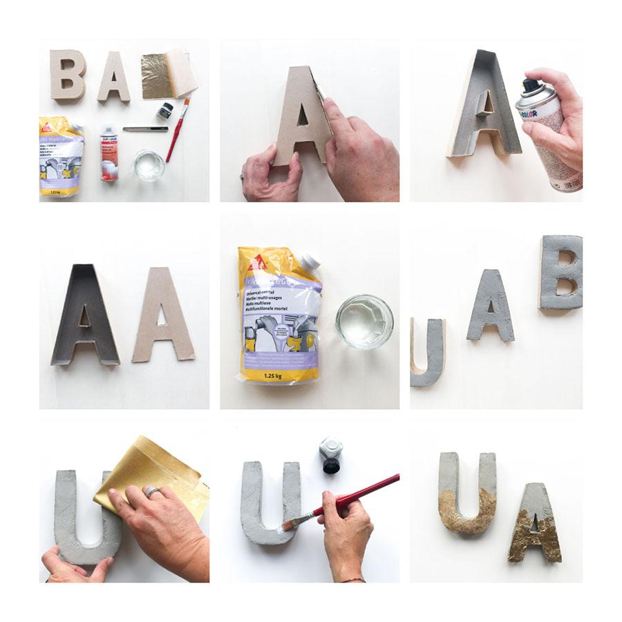 Beton basteln   Beton Deko DIY   Basteln mit Beton   Beton DIY   Beton Buchstaben   Beton mit Blattgold   Beton mit Blattmetallgold   Beton basteln