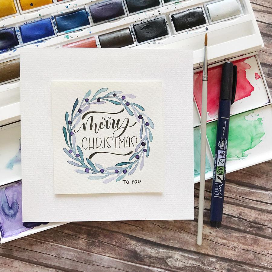 Weihnachtskarten DIY | DIY | Handlettering | Aquarellkarten | Weihnacht | selberbasteln