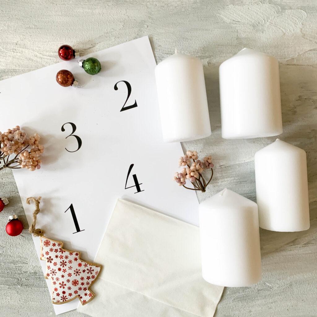 Advent | Adventskerzen | Adventskerze | Material | Adventskranz | Adventskranz DIY | DIY | Weihnachtsbasteln | Weihnachten