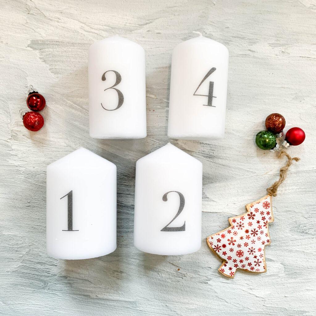 Advent | Adventskerzen | Adventskerze | Material | Adventskranz | Adventskranz DIY | DIY | Weihnachtsbasteln | Weihnachten | Vorbereitung | Serviettentechnik | fertige Kerzen
