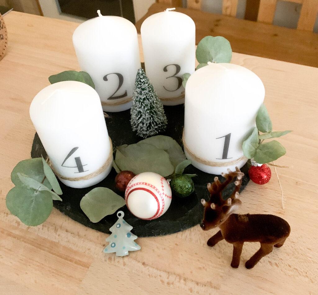 Advent | Adventskerzen | Adventskerze | Material | Adventskranz | Adventskranz DIY | DIY | Weihnachtsbasteln | Weihnachten | Vorbereitung | Serviettentechnik | fertiger Adventskranz